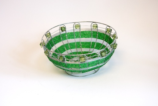 Green wire and beaded bowl