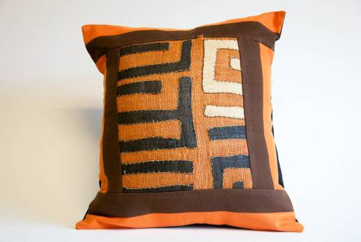 Orange Kuba Print Pillow