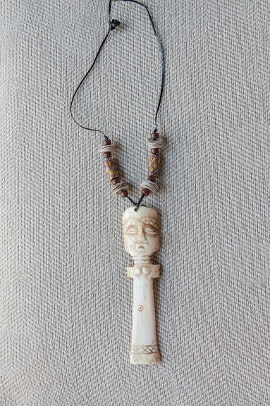 Carved Bone Asante Doll With Trade Bead Necklace Zawadi