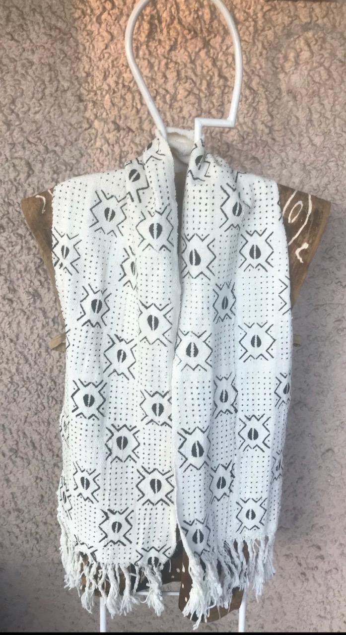 White Mudcloth scarf1