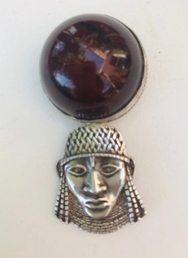 Vintage Jewelry Dark Amber Benin Bronze Pendant